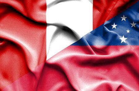 samoa: Waving flag of Samoa and Peru