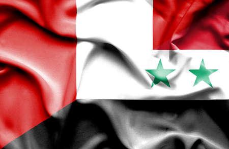 syria peace: Waving flag of Syria and Peru