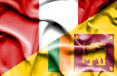 sri lankan flag: Waving flag of Sri Lanka and Peru
