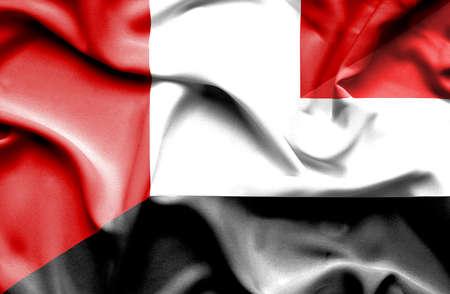 yemen: Waving flag of Yemen and Peru