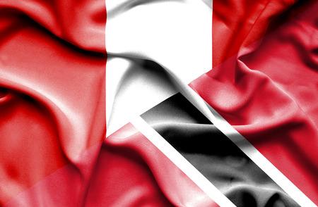 tobago: Waving flag of Trinidad and Tobago and Peru