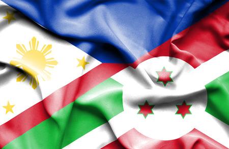 burundi: Waving flag of Burundi and Philippines