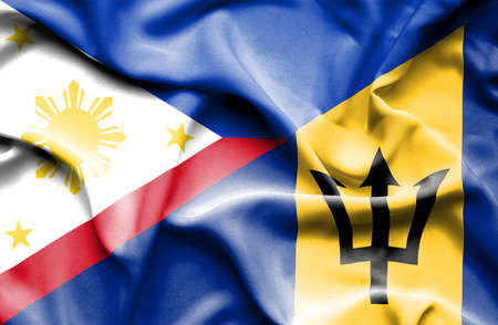 barbados: Waving flag of Barbados and Philippines
