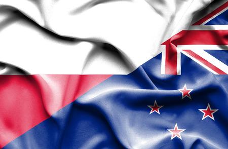 bandera de nueva zelanda: Ondeando la bandera de Nueva Zelanda y Polonia