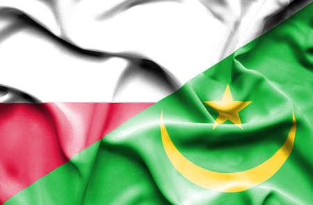 mauritania: Waving flag of Mauritania and Poland Stock Photo