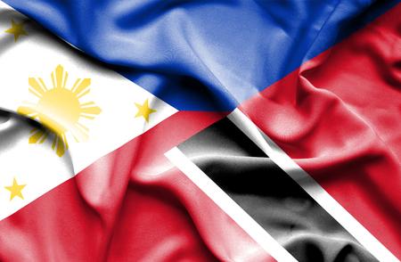 tobago: Waving flag of Trinidad and Tobago and Philippines