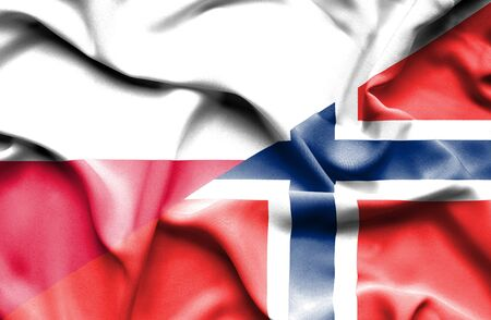 norway flag: Waving flag of Norway and Poland