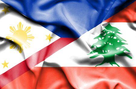 lebanon: Waving flag of Lebanon and ,Philippines Stock Photo