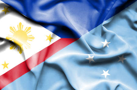 micronesia: Waving flag of Micronesia and Philippines