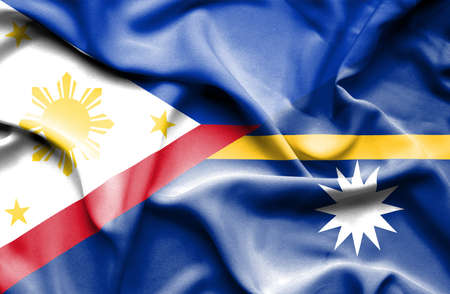nauru: Waving flag of Nauru and Philippines