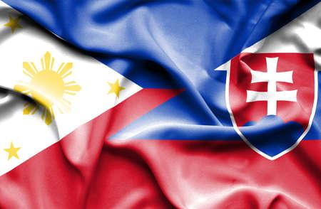 slovakian: Waving flag of Slovakia and Philippines