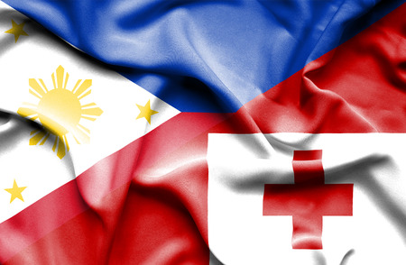 tonga: Waving flag of Tonga and Philippines Stock Photo