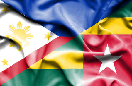 togo: Waving flag of Togo and Philippines