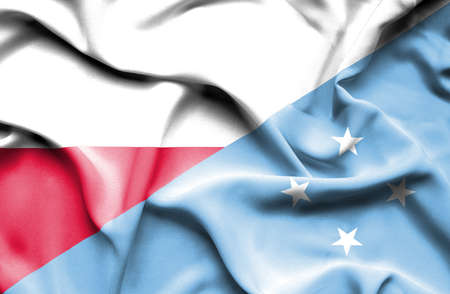 micronesia: Waving flag of Micronesia and Poland