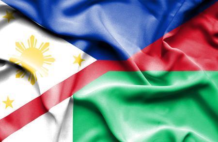 madagascar: Waving flag of Madagascar and Philippines Stock Photo