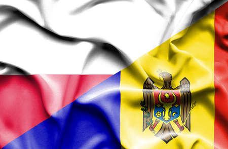 moldavia: Waving flag of Moldavia and Poland