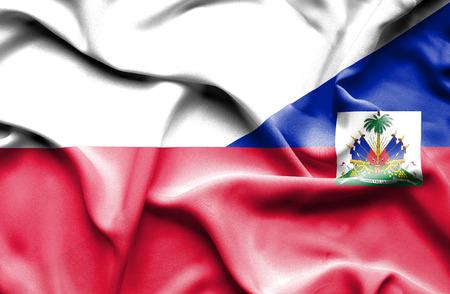 haiti: Waving flag of Haiti and Poland