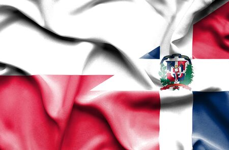 dominican: Waving flag of Dominican Republic and Poland
