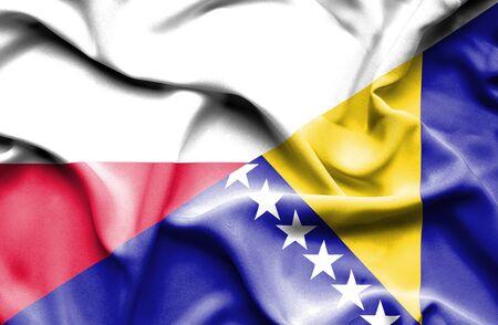 bosnia and herzegovina flag: Waving flag of Bosnia and Herzegovina and Poland