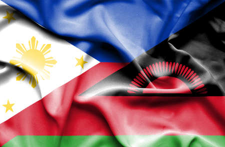 malawian flag: Waving flag of Malawi and Philippines