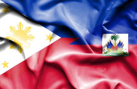 haiti: Waving flag of Haiti and Philippines