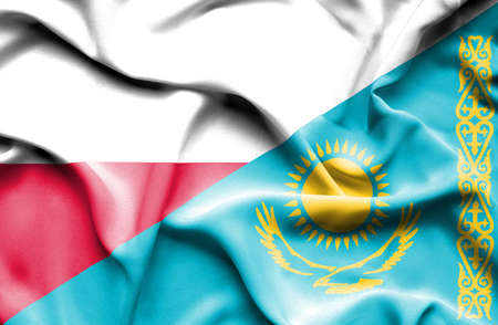 kazakhstan: Waving flag of Kazakhstan and Poland