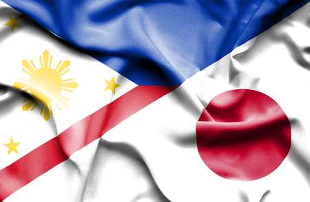 Waving flag of Japan and Philippines
