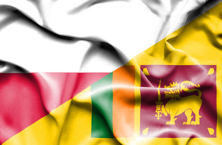 sri lankan flag: Waving flag of Sri Lanka and Poland