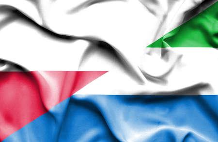leone: Waving flag of Sierra Leone and Poland