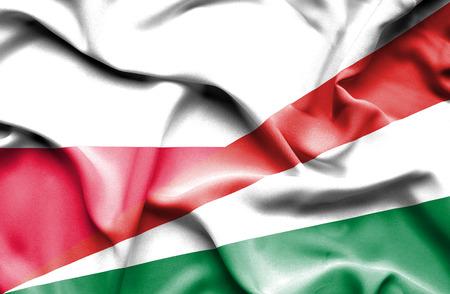 seychelles: Waving flag of Seychelles and Poland Stock Photo