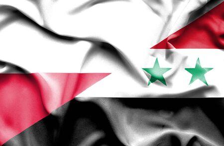 syria peace: Waving flag of Syria and Poland Stock Photo