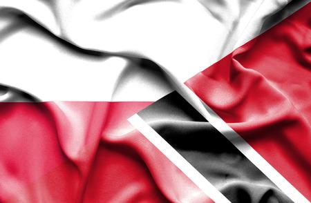 tobago: Waving flag of Trinidad and Tobago and Poland