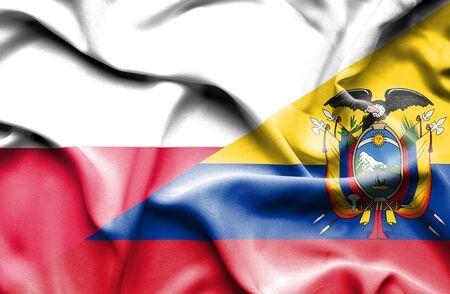 ecuador: Waving flag of Ecuador and Poland Stock Photo