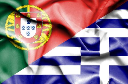 portugese: Waving flag of Greece and Portugal