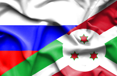 burundi: Waving flag of Burundi and Russia