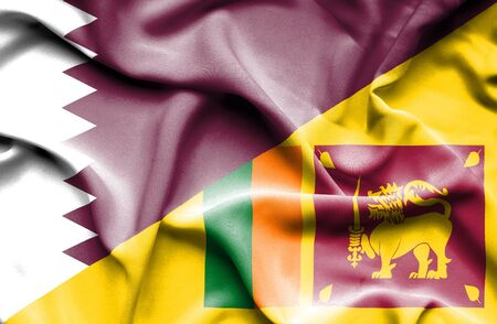 sri: Waving flag of Sri Lanka and Qatar Stock Photo