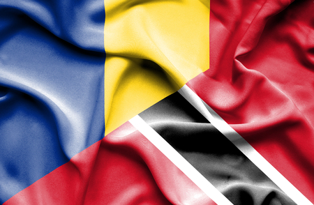 trinidad and tobago: Waving flag of Trinidad and Tobago and Romania