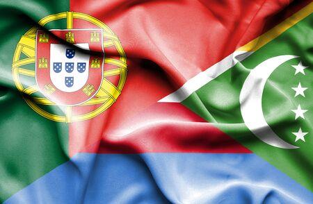 comoros: Waving flag of Comoros and Portugal