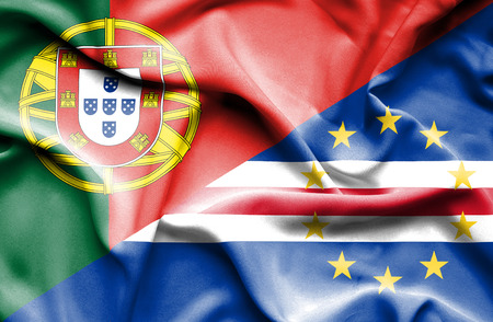 verde: Waving flag of Cape Verde and Portugal Stock Photo
