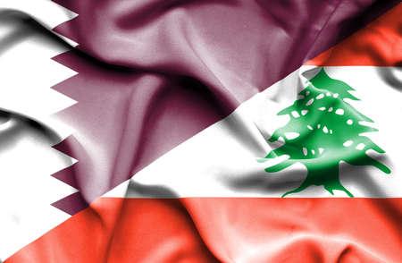lebanon: Waving flag of Lebanon and Qatar Stock Photo