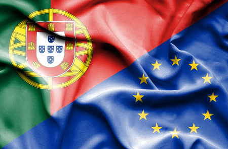 portugese: Waving flag of European Union and Portugal