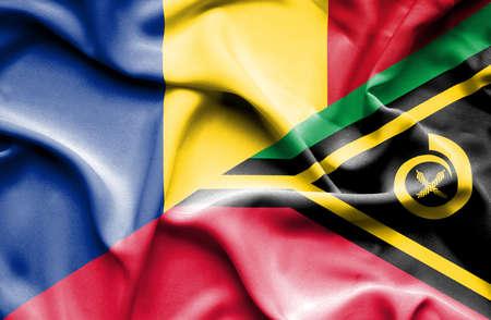 vanuatu: Waving flag of Vanuatu and Romania