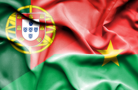 portugese: Waving flag of Burkina Faso and Portugal