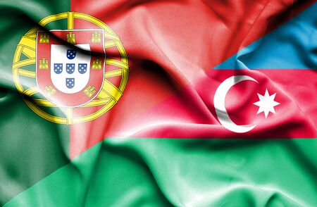 portugese: Waving flag of Azerbajan and Portugal