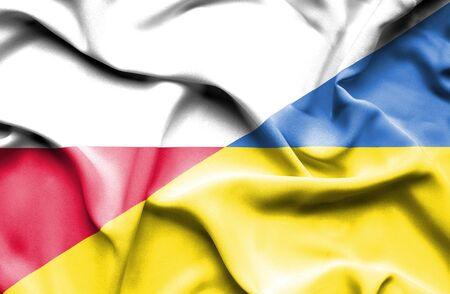 ukraine: Waving flag of Ukraine and Poland