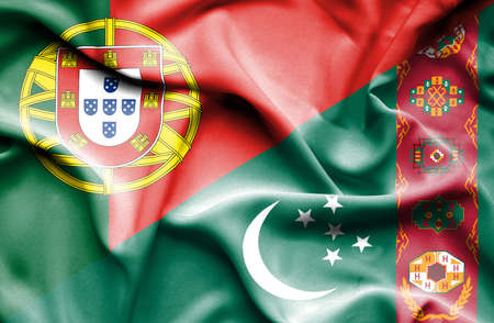 portugese: Waving flag of Turkmenistan and Portugal