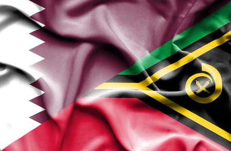 vanuatu: Waving flag of Vanuatu and Qatar