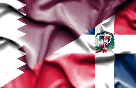 dominican republic: Waving flag of Dominican Republic and Qatar