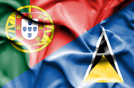 st lucia: Waving flag of St Lucia and Portugal
