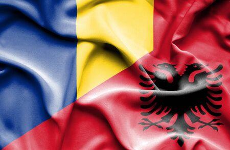 albania: Waving flag of Albania and Romania